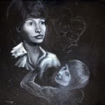Mama (2016) - Kreide auf schwarzen Grund; 110 x 105 cm